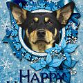 Christmas - Blue Snowflakes Australian Kelpie by Renae Laughner