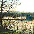 Coal Barge In Ohio River Mist by Padre Art