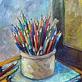 Colored Pencils In Butter Crock by Jean Groberg