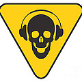 Dj Skull On Hazard Triangle by Pixel Chimp