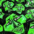 Faces - Green by Karen Elzinga