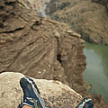 Feet Shod In River Shoes On An Overlook by Bobby Model