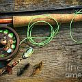 Fly Fishing Rod With Polaroids Pictures On Wood by Sandra Cunningham