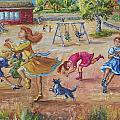 Girls Playing Horse by Dawn Senior-Trask