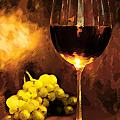 Glass Of Wine And Green Grapes By Candlelight by Elaine Plesser