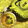 Green Asian Teapot With Cup  by Sandra Cunningham