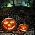 Halloween Pumpkins On Rocks  At Night by Sandra Cunningham