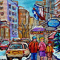 Montreal Street Scenes In Winter by Carole Spandau