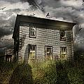 Old Ababdoned House With Flying Ghosts by Sandra Cunningham