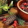 Pine Cones And Christmas Balls  by Sandra Cunningham