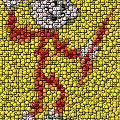 Reddy Kilowatt Bottle Cap Mosaic by Paul Van Scott