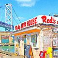 Reds Java House And The Bay Bridge At San Francisco Embarcadero by Wingsdomain Art and Photography