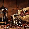 Sack Of Coffee Beans With French Press by Sandra Cunningham