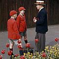 Schoolboys Chat With A Master At Kings by Franc Shor