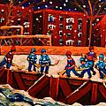 Snow Falling On The Hockey Rink by Carole Spandau
