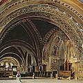 The Interior Of The Lower Basilica Of St. Francis Of Assisi by Thomas Hartley Cromek