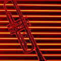 Trumpet And Red Neon by Garry Gay