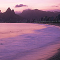 Twilight View Of Ipanema Beach And Two by Michael Melford