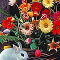 White Rabbit By Basket Of Flowers by Garry Gay