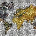 World Map Coin Mosaic by Paul Van Scott