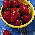 Yellow Bowl Of Strawberries by Garry Gay