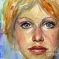 Young Woman Watercolor Portrait Painting by Svetlana Novikova