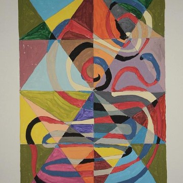 Acrylic Abstract In Geometric Formation Of Color Collection