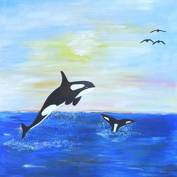 Dolphins Whales Fish and Seascape paintings Collection
