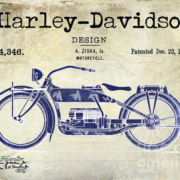 Motorcycle Patent Art and Vintage Art Collection