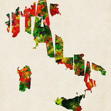 Watercolor Typographic Countries Collection