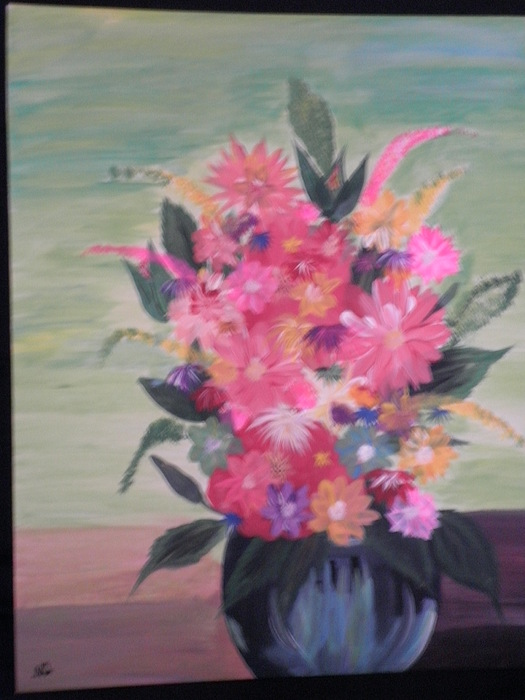 Acrylic Flower Vase Painting On Flat Canvas Painting By Ana Garcia