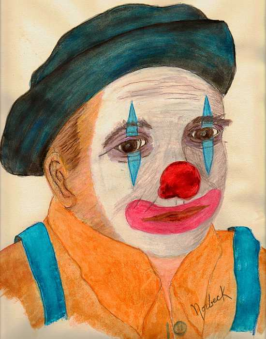Watercolor Painting -  Clown Looking In A Mirror by Thomas J Norbeck