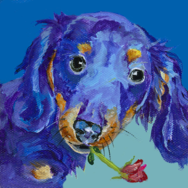 Blue Dog Painting -   Dach by Pat Saunders-White