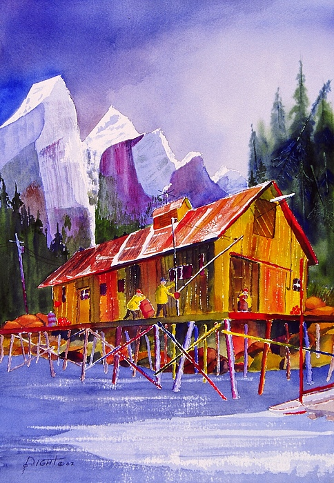 Mountains Painting -  Fishermans Dock by Buster Dight