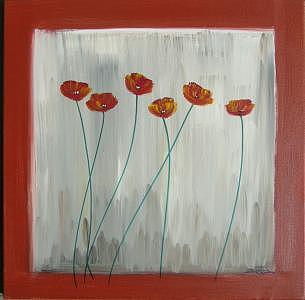 Framed Poppies  Painting by Eridanus Sellen