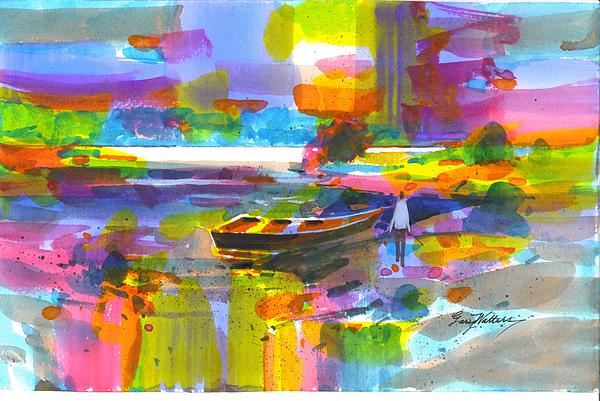 Lake Color Painting by Gary Walters