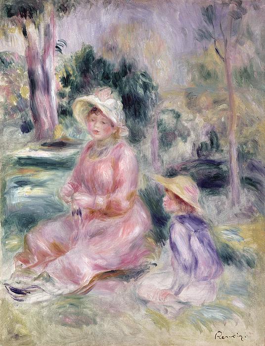 Pierre Auguste Renoir Painting -  Madame Renoir And Her Son Pierre by Pierre Auguste Renoir