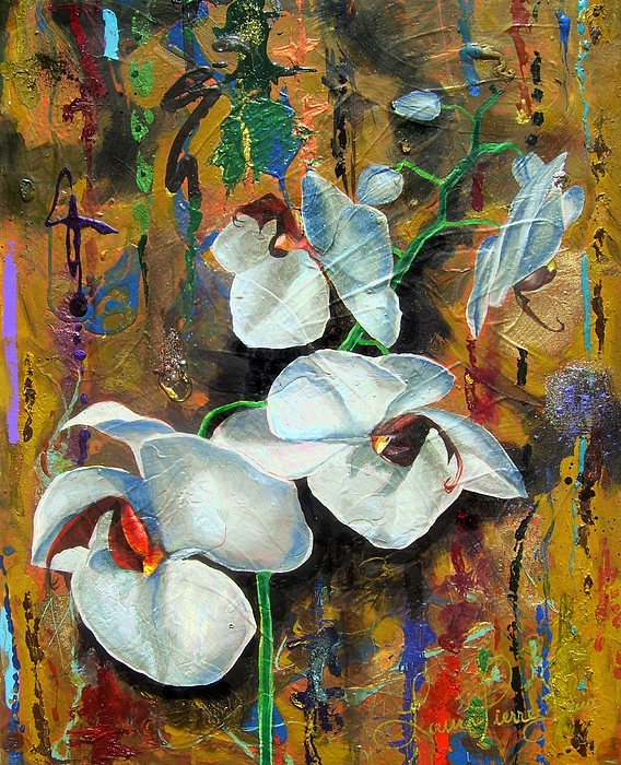 Flowers Painting -  Orchid Yo by Laura Pierre-Louis