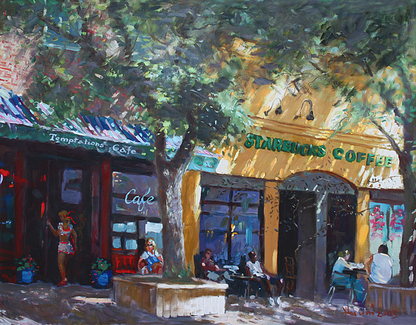 Starbucks Coffee Painting -  Starbucks Hangout by Ylli Haruni