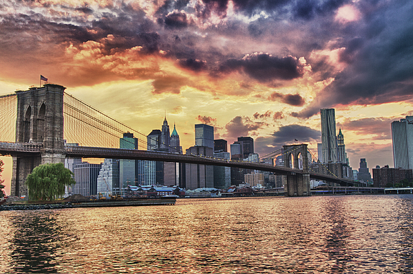 Black Russian Studio Photograph -  Sunset Over Manhattan by Val Black Russian Tourchin