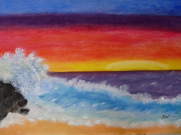 Tamarin Sunset Painting by Elizabeth Ribet