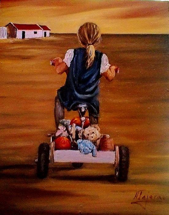 Child Painting -  Visiting Granny by Natalia Tejera