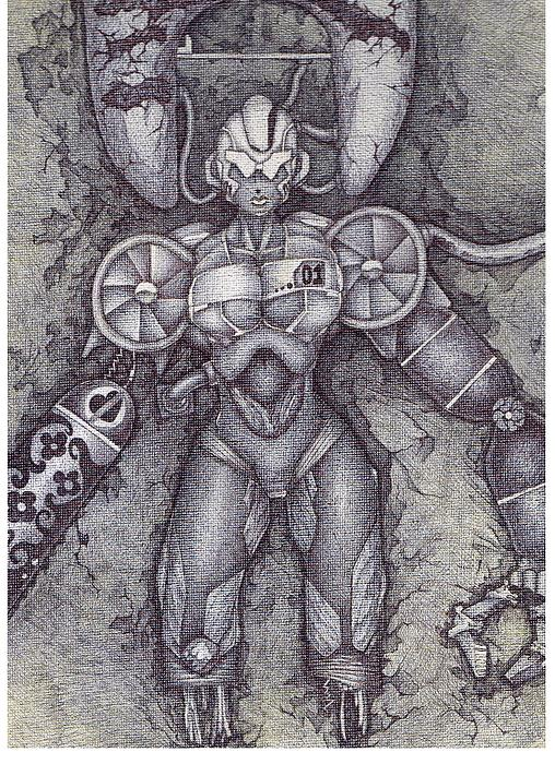 Robot Drawing - 01 by Efrain  Aguilar
