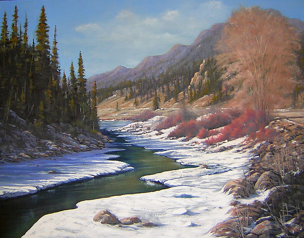 Landscape Painting - 060328-2822    Remnants Of Winter   by Kenneth Shanika