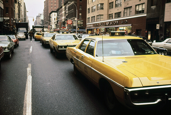 1970s Photograph - 1970s America. Yellow Taxi Cabs by Everett