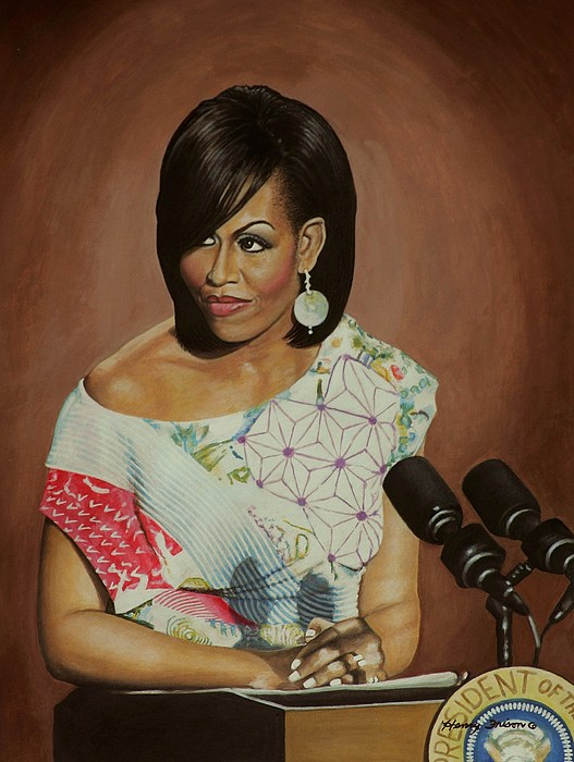 Women Painting - 1st Lady Michelle Obama by Henry Frison