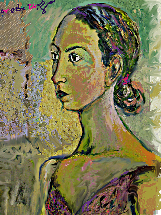 Portrait Painting - A Waiting by Noredin Morgan