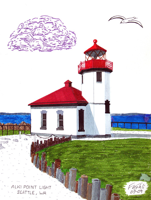 Lighthouse Drawings Drawing - Alki Point Light by Frederic Kohli