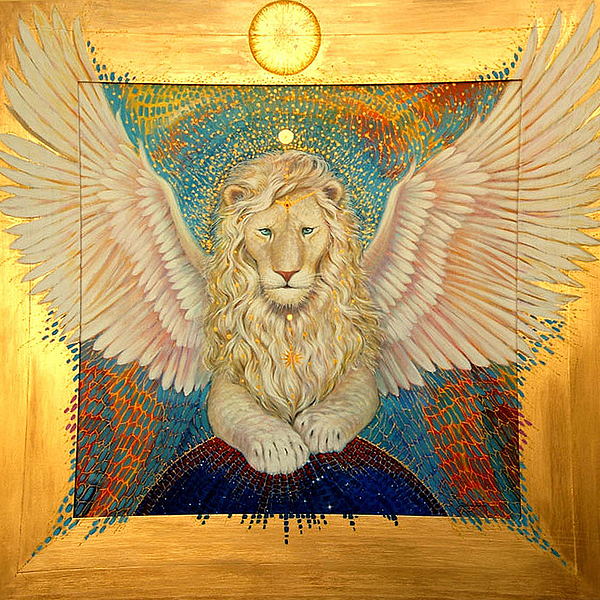 Winged White Lion Painting - Aslan  by Silvia  Duran