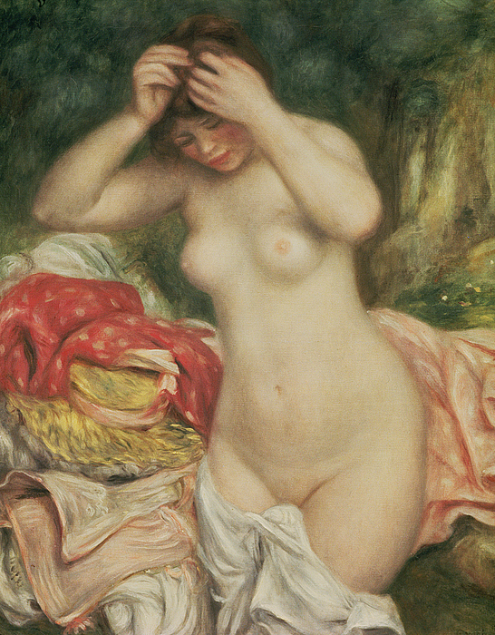 Nudes Painting - Bather Arranging Her Hair by Pierre Auguste Renoir